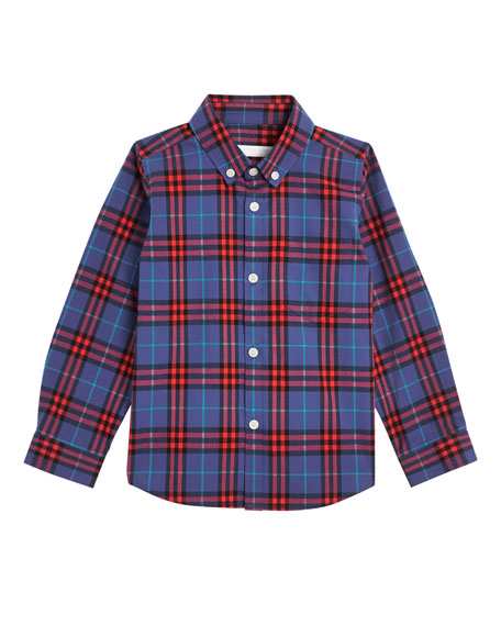 Burberry Fred Check Button-Down Shirt, Size 4-14