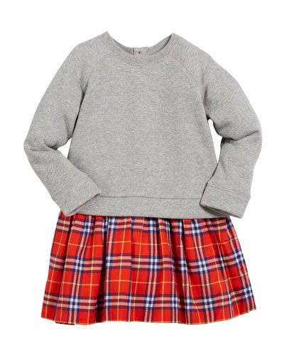 Francine Sweatshirt & Plaid Skirt Dress, Size 4-14