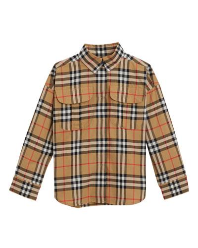Sasha Check Collared Dress Shirt  Size 4-14