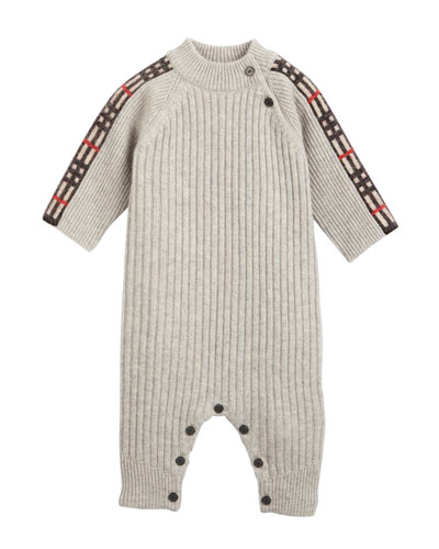 Cathina Check-Trim Rib-Knit Coverall  Size 3-12 Months