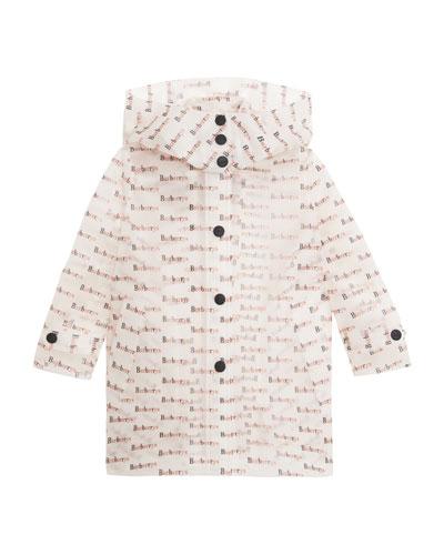 Penelope Clear Logo-Print Raincoat, Size 4-14