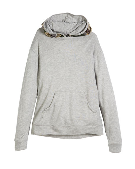 Flowers by Zoe Sequin Camo Hood Sweatshirt, Size