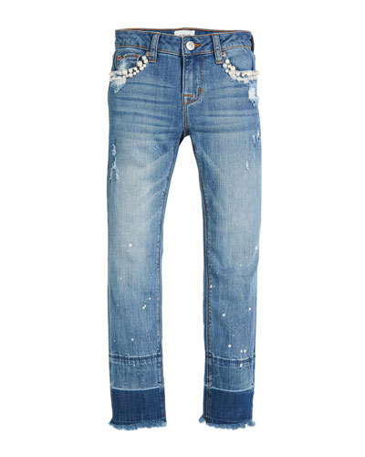 Karen Ankle Skinny Crop Jeans w/ Paint Splatter & Pearly Beads, Size 7-16