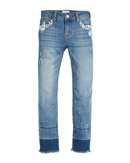 Hudson Karen Ankle Skinny Crop Jeans w/ Paint