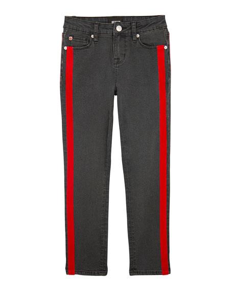Girls' Keira Skinny Denim Jeans w/ Velvet Tape Trim, Size 7-16