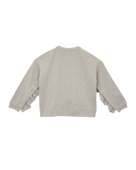 Oversized Ruffle-Trim Sweatshirt, Size S-XL