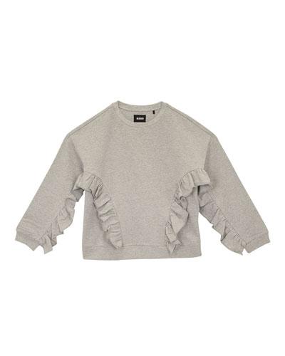 Oversized Ruffle-Trim Sweatshirt, Size S-XL