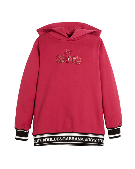 Dolce & Gabbana Queen Fleece Cotton Hoodie Dress,