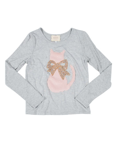 Faux Fur Cat Tee w/ Crystal Bow, Size 4-6X