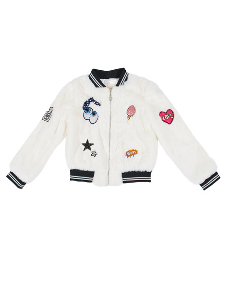 Hannah Banana Faux-Fur Bomber Jacket w/ Assorted Patches,