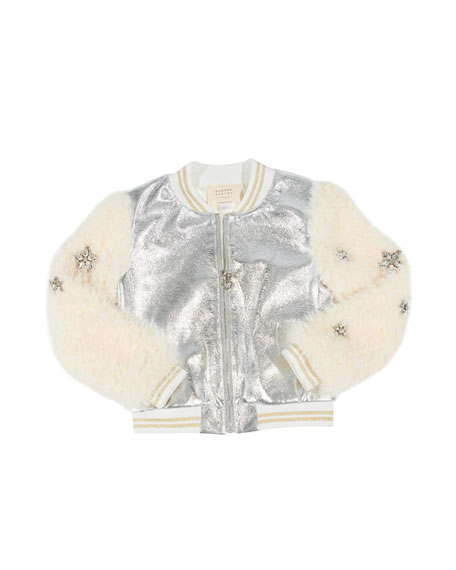 Hannah Banana Metallic Faux Leather Bomber Jacket w/