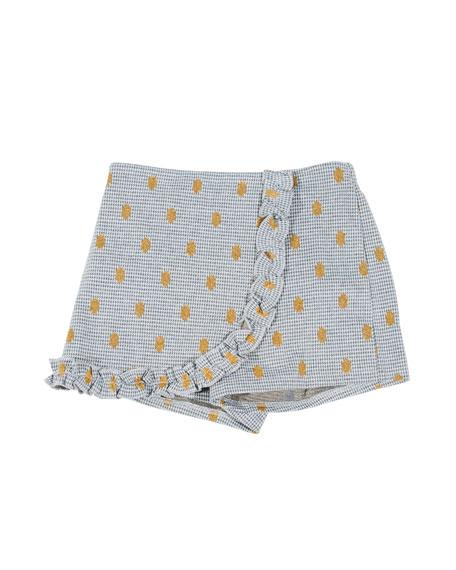 Hannah Banana Houndstooth & Polka-Dot Wrap Skort, Size