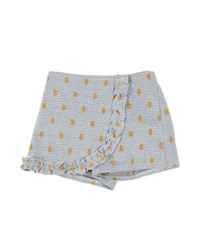 Houndstooth & Polka-Dot Wrap Skort, Size 4-6X