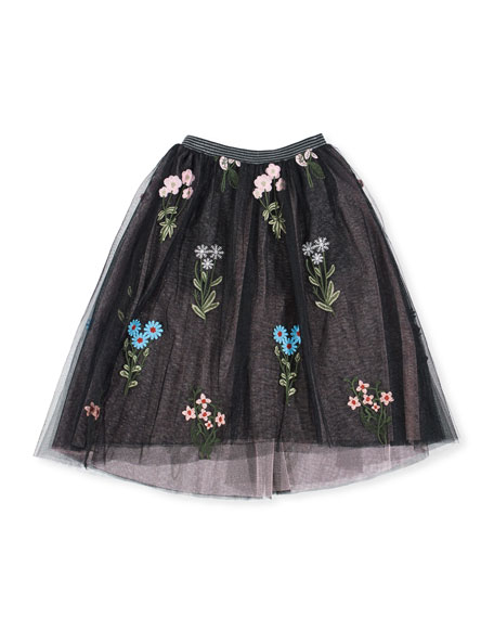 Hannah Banana Midi High-Low Floral Embroidery Tulle Skirt,