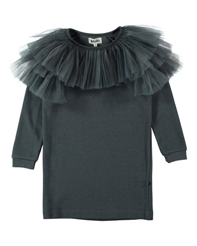 Ciss Tulle-Trim Sweatshirt Dress, Size 3T-10