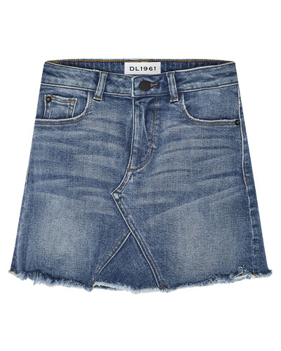 Jenny Raw-Edge Denim Mini Skirt, Size 7-16