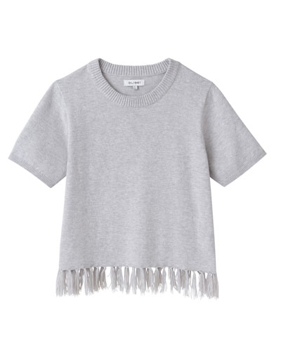 Short-Sleeve Tassel-Hem Sweater, Size S-L