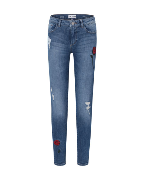 Medium Wash Distressed Skinny Jeans w/ Rose Embroidery, Size 7-16