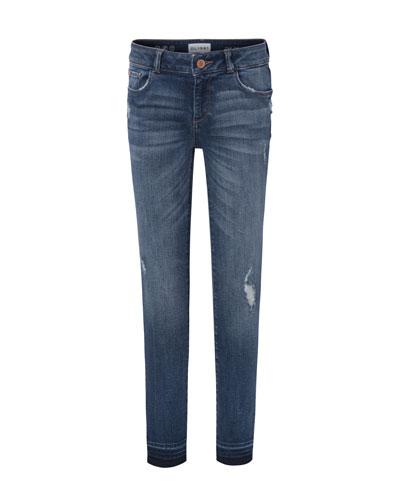 Medium Wash Distressed Skinny Jeans w/ Double Cross Hem, Size 7-16
