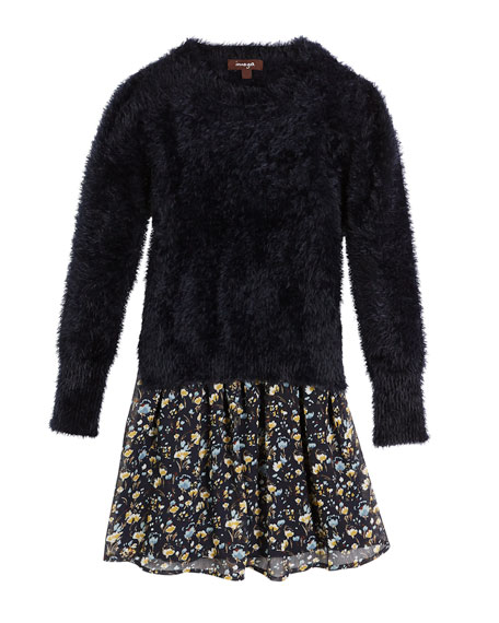 Imoga Fancy Yarn Sweater & Floral Chiffon Dress
