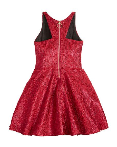 Zoe Rea Abstract Brocade T-Back Swing Dress, Size 4-6X