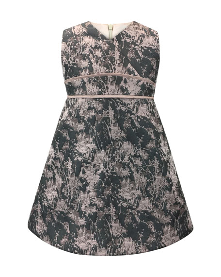 Helena Floral Jacquard V-Neck Dress, Size 7-14