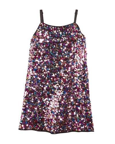 Chelsea Allover Sequin Spaghetti-Strap Dress, Size 8-16