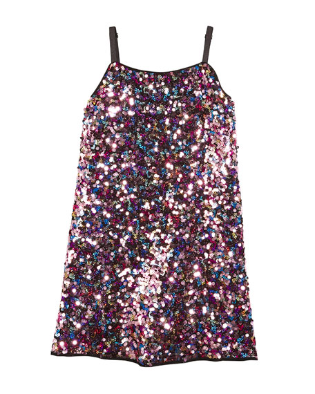 Milly Minis Chelsea Allover Sequin Spaghetti-Strap Dress, Size