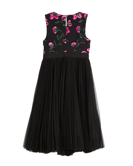 Milly Minis Tulle & Floral Embroidered Dress, Size 8-16