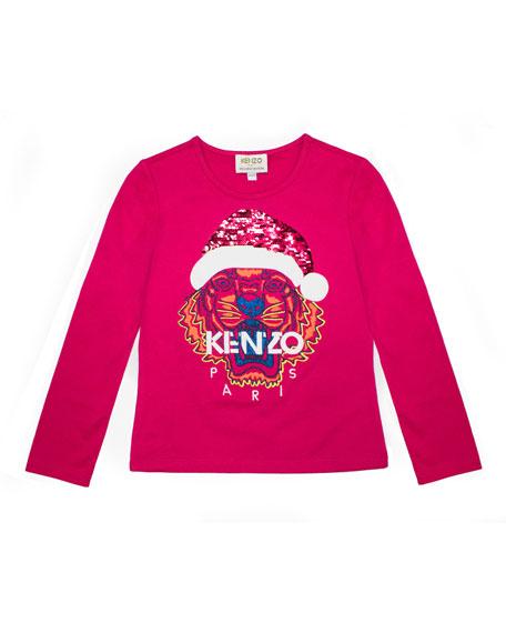Kenzo Flip Sequin Santa Tiger Tee, Girls' Size