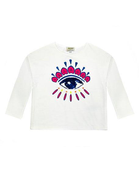 Kenzo Long-Sleeve Flip Sequin Eye T-Shirt, Size 4-6