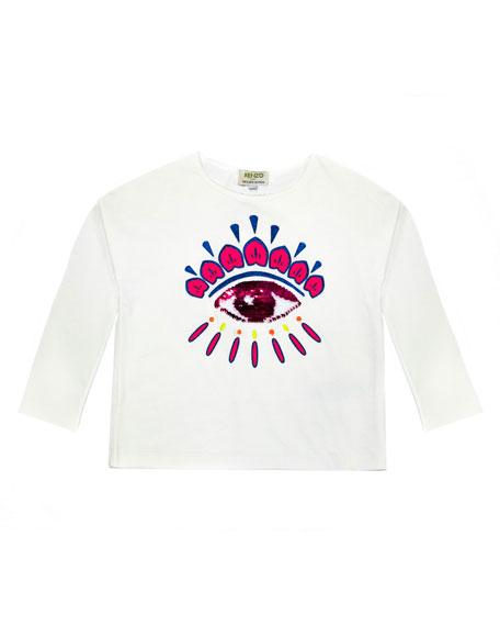Kenzo Long-Sleeve Flip Sequin Eye T-Shirt, Size 14-16
