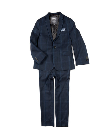 APPAMAN Boys' Two-Piece Mod Glen Plaid Suit W/ Gingham Pocket Square, 4-16 in Blue