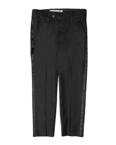 Satin-Trim Tuxedo Pants, Size 4-16