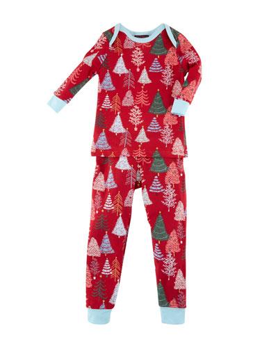 Christmas Tree-Print Pajamas w/ Matching Hat, Size 3-24 Months