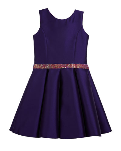 Katie Satin Dress w/ Crystal Belt, Size 7-16