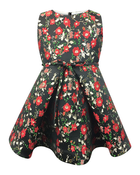 Helena Sleeveless Floral Jacquard Dress, Size 2-6