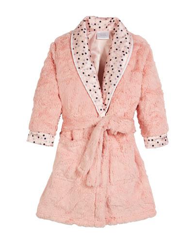 Dottie Faux-Fur Dot Robe, Size 3T-8