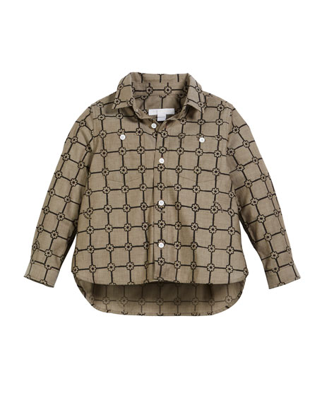 Burberry Beagle Flower Grid Collared Shirt, Size 3-14