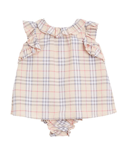 Carla Ruffle-Trim Check Dress w/ Bloomers  Size 3-18 Months