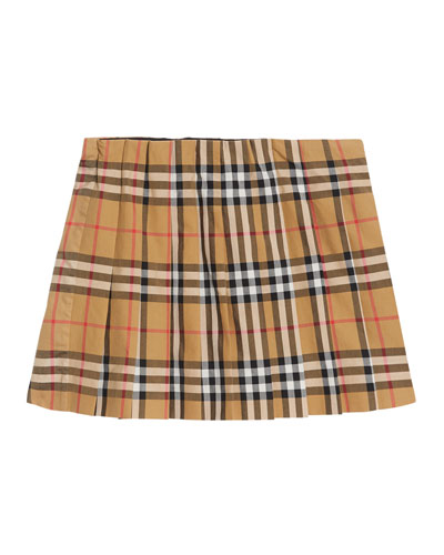 Pearl Check Pleated Skirt, Size 3-14