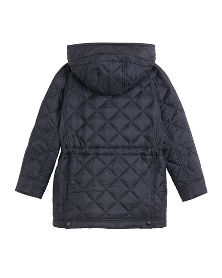 Burberry Tyle Diamond-Quilted Hooded Coat, Size 3-14