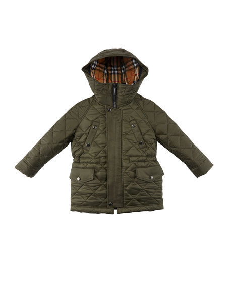 Burberry Tyler Diamond-Quilted Hooded Coat, Size 3-14