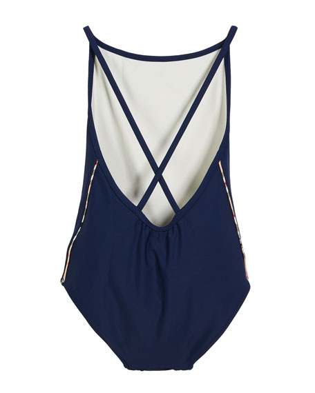 Burberry Girls' Sandine Check-Trim One-Piece Swimsuit, Size 3-14