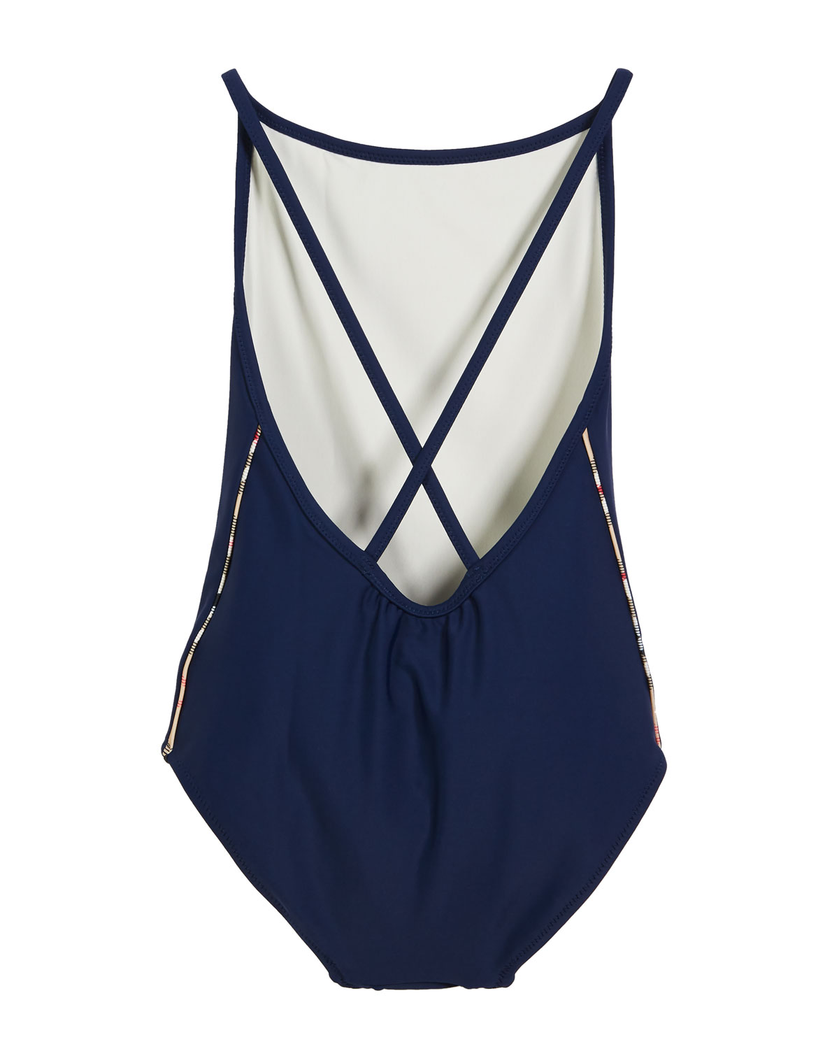 ddd6d7f176 Burberry Girls' Sandine Check-Trim One-Piece Swimsuit, Size 3-14 | Neiman  Marcus
