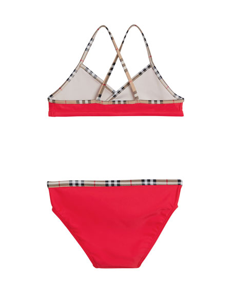 Burberry Crosby Cross-Back Two-Piece Swimsuit, Size 3-14