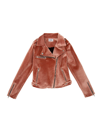 Girls' Nadia Velvet Moto Jacket  Size S-XL