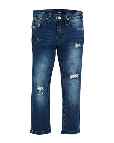 Jude Distressed Straight-Leg Jeans, Size 4-7