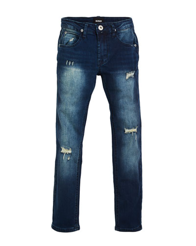 Jude Distressed Straight-Leg Jeans, Size 8-16