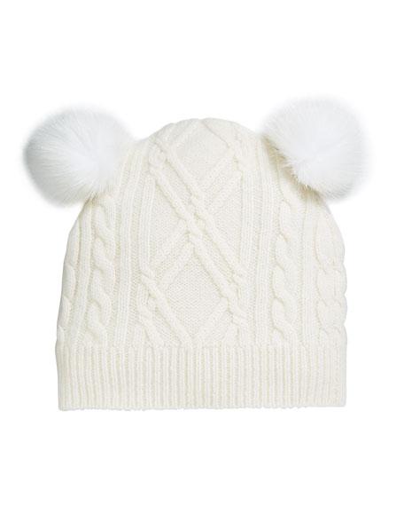 Sofia Cashmere Argyle & Cable-Knit Cashmere Baby Hat w/ Fur Pompoms